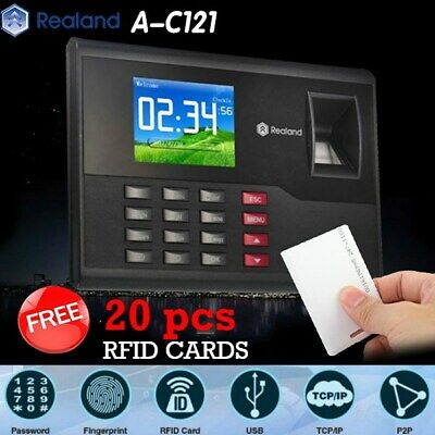 Realand A-C121 Biometric Fingerprint Time Attendance Clock TCP/IP USB + 20 Cards