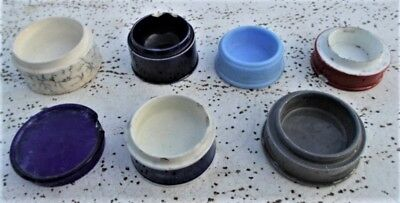 1890s - 1910s RARE & UNUSUAL Coloured Toothepaste Pot Lid Bases & lid VIC Found!