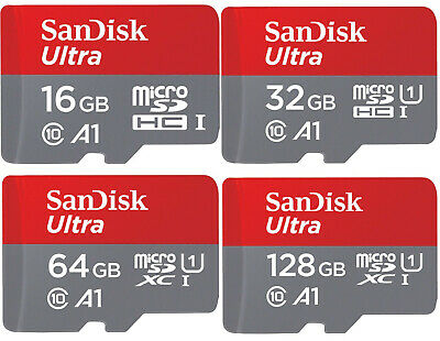 MicroSD Karte SanDisk Ultra A1 Class 10 inklusive SD Adapter - 16 32 64 128 GB
