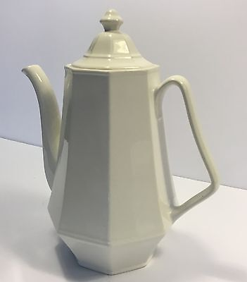 Vintage White Porcelain Ironstone Glassware Octagonal Coffee Pot