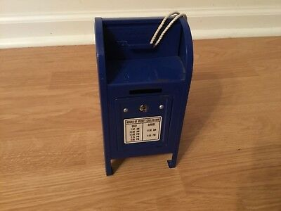 Vintage Blue Metal POST OFFICE MAILBOX Coin Bank With Attached Key