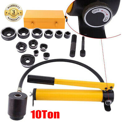 10Ton Hydraulic Metalworking Knockout Hole Punch Driver Tool Set 22-60mm Dies