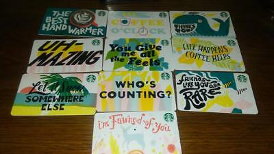 10 Card Set New Starbucks 2019 Recycled Paper Gift Cards
