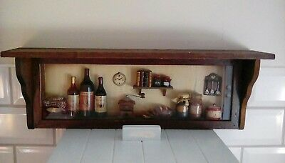 Vintage Wooden shelf unit with glass case displaying various items