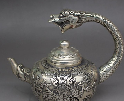 Collectible Decoration Tibet Silver  Handwork Carved Dragon Teapot