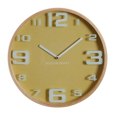 Hunter Yellow Wooden White Oversized Numbers Wall Clock