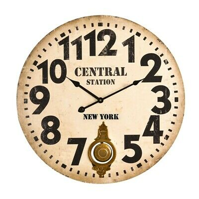 Central Station New York Cream Large Numbers Vintage Pendulum Wall Clock