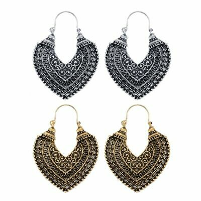 New Vintage Metal Craved Flower Earrings For Women Ethnic Indian Jewelry
