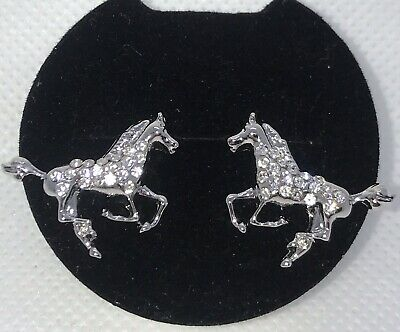 Horse Earrings Equestrian Crystals Silver Tone Pierced Sparkling Shiny