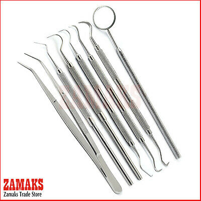 Set Of 7 Probe 9 Periodontal Teeth Oral Cleaning Tweezers Dentistry Kits Tool CE
