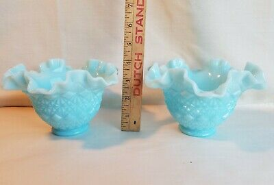 Fenton Lot Of Two Fenton Olde Virginia Glass Ruffled Vase Glass