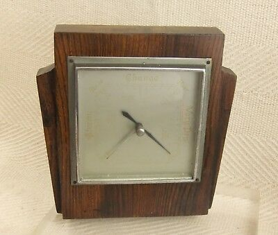 Vintage 1940's Art Deco Design Solid Oak Wood Shortland Smiths Barometer