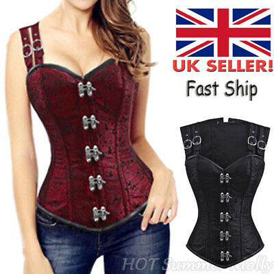 Womens Steampunk Laces Overbust Corset Top Bustier Gothic Waist Trainer Cincher