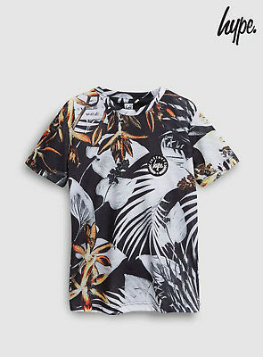 ed375526 HYPE BOYS BLACK Space Printed Fade T-shirt Top Age 14 Years BNWT ...
