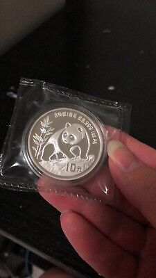 1990 china panda 1oz   silver coin