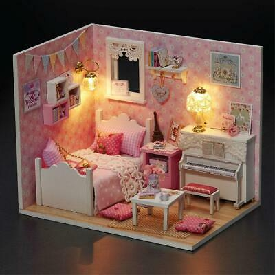 Doll House DIY Kits Girls Sweet Bedroom Dollhouse Kids Toy Furniture LED Light