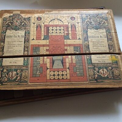 Anchor Architectural Stone Building Set With Oak  Box #15 Antique Toy From 1880
