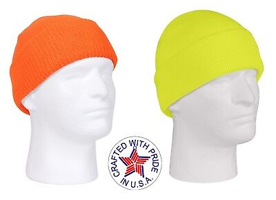 a09f2022aa0ee MADE IN THE USA Watch Cap Knit Hat Safety Orange Yellow - Green Hunting  Beanie
