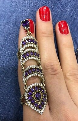 925 Sterling Silver Handmade Authentic Turkish Amethyst Ladies Ring Size 8