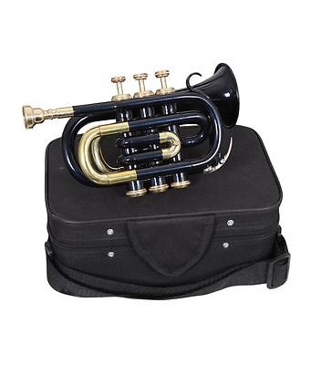 POCKET TRUMPET BLACK//BRASS/_ COLOREDFINISH Bb good PITCH WITH CASE