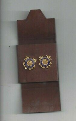 USCG AUXILIARY Coast Guard collar Insignia pins clutchback WW2 era