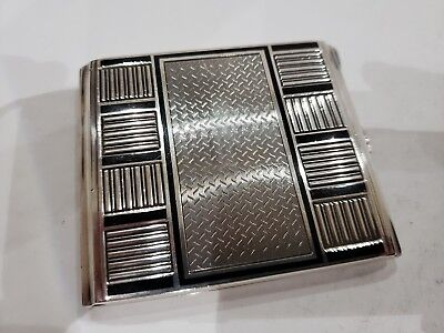 VINTAGE ANTIQUE SOLID STERLING SILVER & BLACK ENAMEL CIGARETTE CASE, VESTA, 144g