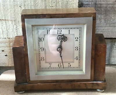Vintage SMITHS classic Art Deco beechwood mantle clock working
