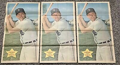Topps 1968 Baseball Poster #9 Al Kaline - Detroit Tigers Lot Of 3