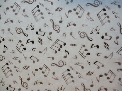 CRAZY MUSIC NOTES BLUE ON BLACK BACKGROUND COTTON FABRIC 15 INCH SCRAP CUT