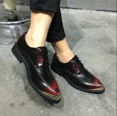 Fashion Mens Lace Up Classic Pointed Toe Breathable Creepers Formal Dress Shoes