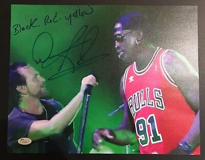 Dennis Rodman Signed 11x14 Photo Eddie Vedder Black Red Yellow JSA Pearl Jam MFC