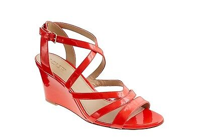 80dbc8380574f J. Crew Tangier Orange Marci Patent Wedge Sandals Size 8.5  84418 NEW