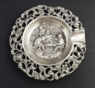 Antique DUTCH SILVER EMBOSSED SMALL ASHTRAY c1940