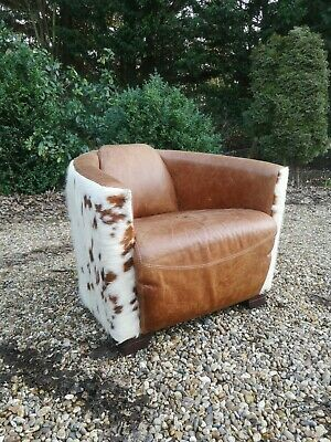 Indigo Antiqued Brown Leather & Cowhide Club Tub Aviator Armchair FREE DELIVERY