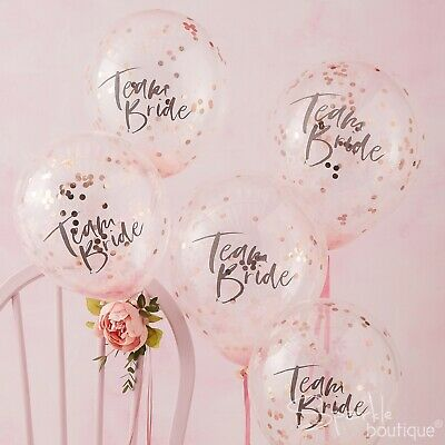 TEAM BRIDE CONFETTI BALLOONS-Rose Gold Hen Do/Party Decorations-FLORAL HEN RANGE