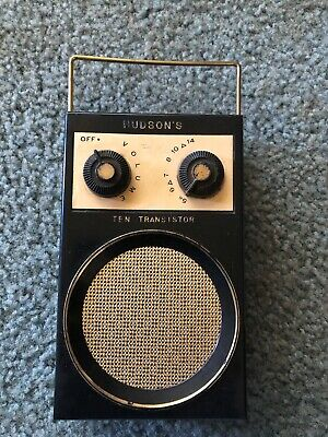 Vintage Hudson's ten transistor radio With earphone In A Leather Case.