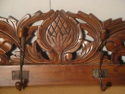 """Antique Hand Carved Wooden Wall Hanging Panel Coat Hat Rack 4 Double Hooks L-41"""""""