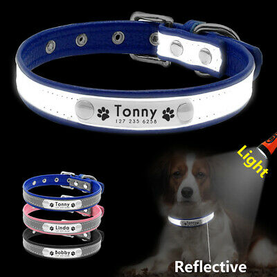 Reflective Personalized Dog Collar for Small Dogs Chihuahua Name Phone Engraved