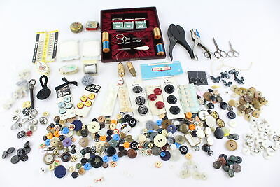 Job Lot of Vintage HABERDASHERY Inc. Sets, Buttons, Tape Measures, Tools Etc.