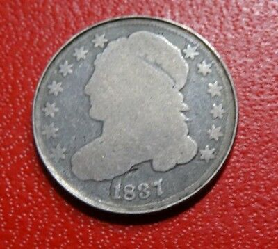 1837 CAPPED BUST DIME Old USA 10C SILVER Coin Strong Date VERY LOW MINTAGE