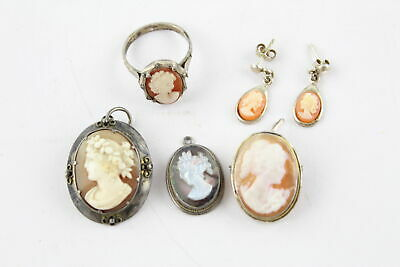 5 x Vintage .800 & .925 Sterling Silver CAMEO JEWELLERY inc Earrings, Ring (15g)