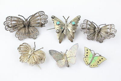 6 x Vintage .925 Sterling Silver BUTTERFLY BROOCHES inc. Antique, Gemstone (36g)