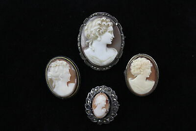 4 x Vintage .800 & .925 Sterling Silver CAMEO BROOCHES inc. Marcasite Set (22g)