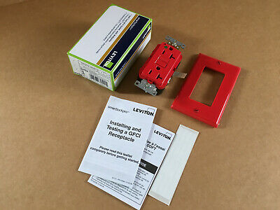 Leviton GFNT2-HGR, 20A-125V, Self Test GFCI Receptacle Outlet, Red, Wallplate