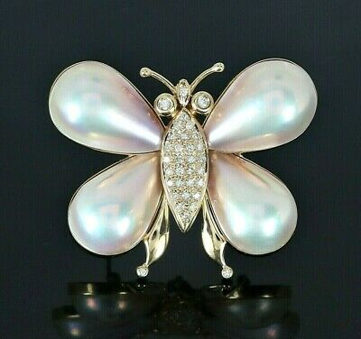 $2850 14K Yellow Gold Mabe Pear Pearl Round Diamond Butterfly Pendant Pin Brooch