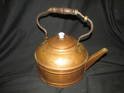 "Large 9.25"" Vintage Copper Tea Kettle with Wood Handle & Lid Marked ""Rome"""