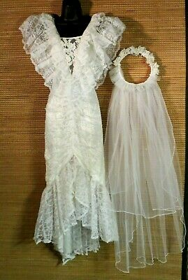 Wedding Dress 1980's Contempo Casuals Lace Mermaid Scoop Back Veil 9/10