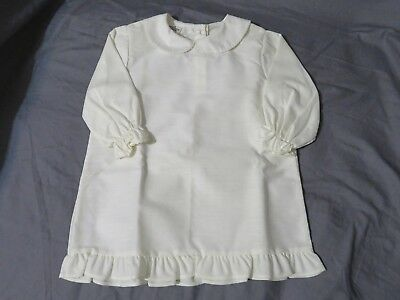 New Vintage Girl's Sears Perma-Prest 3/4 Sleeve Ruffle Ivory Blouse/Shirt Size 4