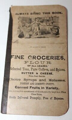 Antique C1890 GROCERY LIST Book