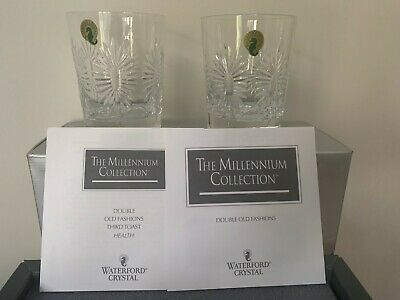 Waterford Millennium Health Toast Double Old Fashioned Dof Tumblers New In Box